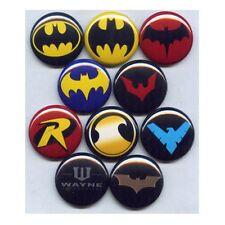 "BATMAN LOGOS 1"" PINS / BUTTONS (justice league dark knight harley joker dc)"