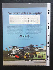 7/1974 PUB AGUSTA HELICOPTER AGUSTA BELL 212 SIKORSKY CHINOOK A109 ORIGINAL AD