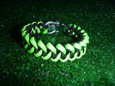 Black/Neon Green Adjustable Paracord Bracelet w SS shackle, Shark Jaw Bone Weave