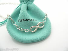 Tiffany & Co Silver Infinity Figure 8 Necklace Pendant Link 18 Inch Chain Charm