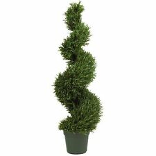 Decorative Natural Looking Artificial 4' Rosemary Spiral Silk Tree  Potted Plant