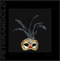 Maschera Di Venezia Lupo Per Piume Struzzo Musica Cosmetica Individuale - 532