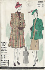 "1941 Vintage Sewing Pattern B38"" SWAGGER COAT (72) By 'Du Barry'"