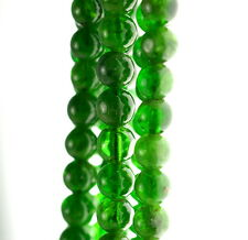 4.5MM CHROME DIOPSIDE GEMSTONE GRADE AA GREEN ROUND LOOSE BEADS 7""