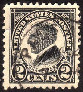 1923, US 2c, Harding, Used, Well centered, Tear left, Sc 610