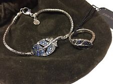 John Hardy Blue Sapphire Feather Bracelet & Ring Sz 6 925 Sterling Silver Set