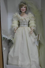 "Franklin Mint Princess Diana Wedding Bride Porcelain Doll 17"" With COA MIB"