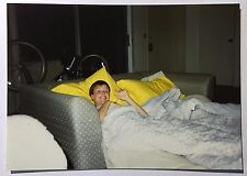 Vintage 1990's PHOTO Woman w/ Short Hair Doo Crashing On The Couch In Apartment