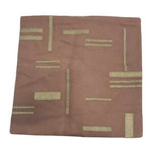 West Elm Embroidered Metallic Blocks Pillow Cover 20x20 Pink Stone NEW