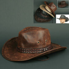 Cowboy COW N BROWN Trilby BUCKET CAP Vintage Leather Style Sun Visor HAT Unisex