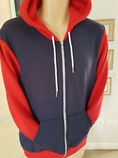 American Apparel Flex Fleece Two-Tone Full Zip Hoodie Navy/Red M Medium
