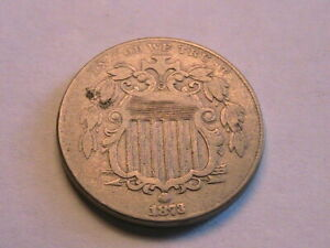 1873 Open 3 Shield Nickel Nice VF Original Altered Reverse 5C Cents USA Coin
