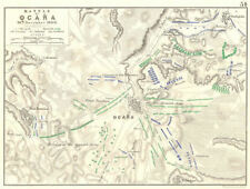 Batalla De Ocana. 19th noviembre de 1809. España. guerras napoleónicas 1848 Mapa Antiguo