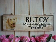 Signo de nombres propios Dorado Labrador Labrador signo divertido signo de madera puerta de jardín Signo