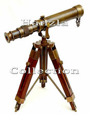 Collectible Antique Brass Telescope With Nautical Wooden Tripod Stand Desk Decor