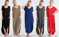 Oversize Soft Knit Long T-Shirt Maxi Dress Loose Solids Long Sleeve Casual Black
