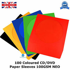 100 Coloured CD Paper Sleeves Cover Cases Envelope With Window and Flap - 100gsm