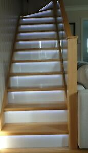Oak LED Grooved Staircase Steps Cladding System 13 Straight Treads