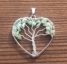 HEART STYLE CHRYSOPRASE TREE OF LIFE WIRE WRAPPED PENDANT STONE GEMSTONE
