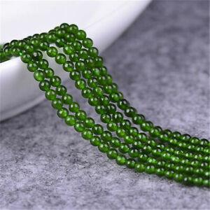 1pcs 4MM Green Jade Gemstone Loose Bead Lots Hole Styles Opaque Craft DIY Charm