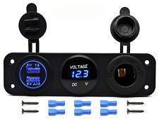 12V Dual USB Charger Socket & LED Voltmeter 3 Hole Panel Outlet Car Boat Marine