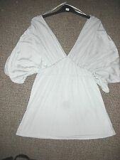 Pink Soda Silver Grey Top with V front and back 3/4 Rouged Balloon Sleeves UK12