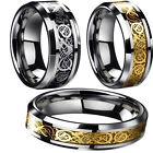 Silver Gold Celtic Dragon Titanium Stainless Steel Men's Wedding Band Rings