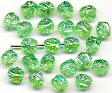 Vintage Bright Green AB Beads 8mm Textured Glass 24 Pcs. Made in Western Germany