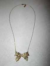 ANTHROPOLOGIE NECKLACE BOW DELICATE CHAIN GOLD FILL #1436