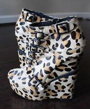 NWT Pony Hair Fur Leopard Animal Print Buckle Ankle Booties Wedge Heel Shoes 7.5