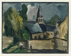 """Maurice Vlaminck """"Church at Bougival"""" lithograph by Mourlot"""
