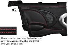 Red stitch 2x portes arrière complet couverture de peau carte fits bmw mini cooper s r56 07-14