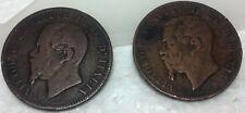 Pair Italy Vittorio 10 centesimi coin copper or bronze 1863 & 66H antique