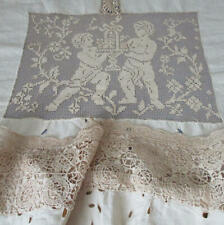 Antique Italian LINEN Handmade LACE Embr Cutwork BED COVER Reticella MALTESE +
