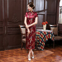 Chinese traditional dress women's silk cheongsam long Qipao  size:S to 6XL