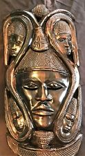 Vintage African Hand Carving Wood Tribal Female Mask Wall Art