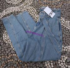 Light Blue Slouchy Zara Jeans 12 Buckle New High Waist