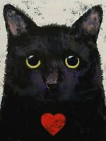 cat love art print by michael creese -used