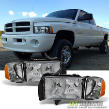 Chrome 1999 2000 2001 Dodge Ram 1500 Pickup Sport Headlights w/ Corner Lights