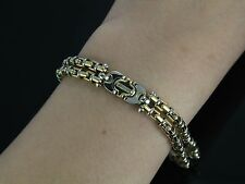 Baraka Men 18k Yellow White Gold Two Tone Mariner Box Bullet No Diamond Bracelet