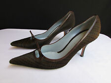 Lambertson Truex Used Women Brown Pony Hair Bow Pointed Pump High Heels Size 7.5