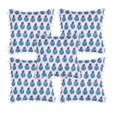 Pom Pom Kantha Floral Design Pillow Cushion Cover Case Pcs Of 5