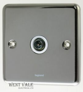 Legrand Synergy - 7332 40 - Polished Steel - 1g Screened TV Socket Outlet New