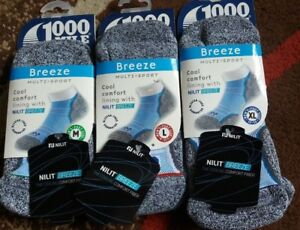 1000 Mile Men's  Breeze Multi-Sport Socks, Medium, Large & Extra Large