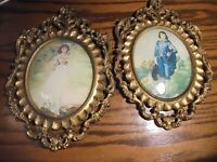 Vtg NORLEANS Ornate Victorian Resin Frame Blue Boy & Pinkie Set Made In Italy 80