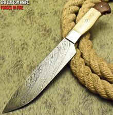 SFK CUTLERY CUSTOM HANDMADE DAMASCUS FIXED BLADE HUNTING CHEF KNIFE CAMEL BONE