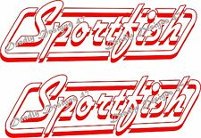 Sportfish Stickers 2 x 400 mm x 130 mm Red  Marine Grade material.