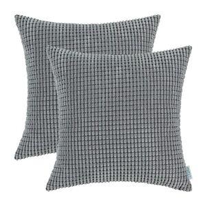 "2Pcs Medium Grey Throw Pillow Cover Shells Corn Soft Corduroy Striped Car 20x20"""