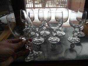 "8 Wine Glass 6 oz Goblets 5-3/4"" Lead Crystal Import Associates Bohemia Claudia"