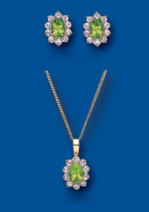 Gold Peridot Pendant and Earrings Set Solid Yellow gold Hallmarked
